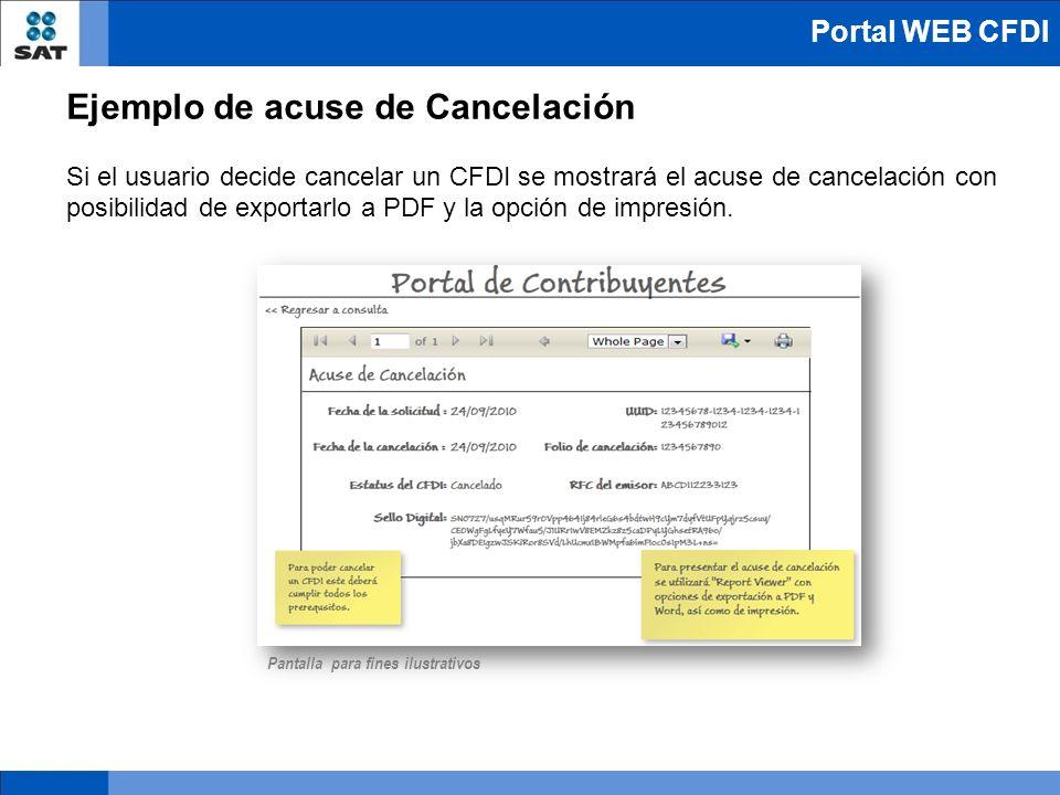 Ejemplo de acuse de Cancelación Si el usuario decide cancelar un CFDI se mostrará el acuse de cancelación con posibilidad de exportarlo a PDF y la opc