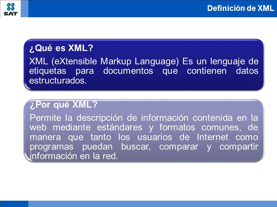 ¿Qué es XML? XML (eXtensible Markup Language) Es un lenguaje de etiquetas para documentos que contienen datos estructurados. ¿Por qué XML? Permite la