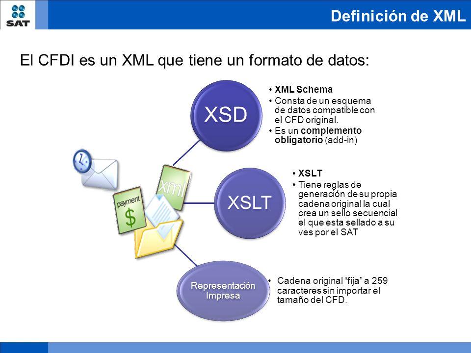 El CFDI es un XML que tiene un formato de datos: Aunque este formato es único y se especifican los requisitos mínimos que debe de contener, también es