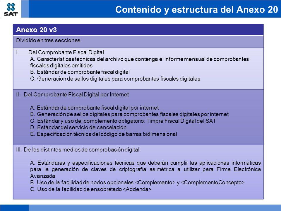 Contenido y estructura del Anexo 20
