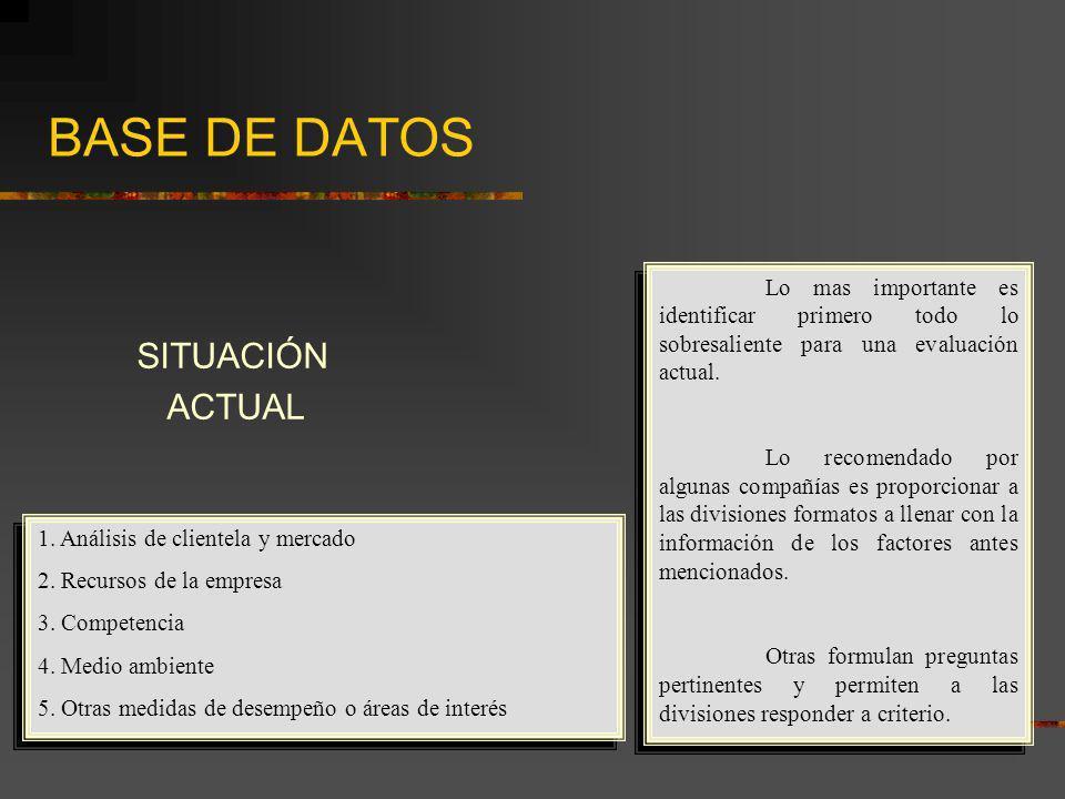 BASE DE DATOS SITUACIÓN ACTUAL 1. Análisis de clientela y mercado 2. Recursos de la empresa 3. Competencia 4. Medio ambiente 5. Otras medidas de desem
