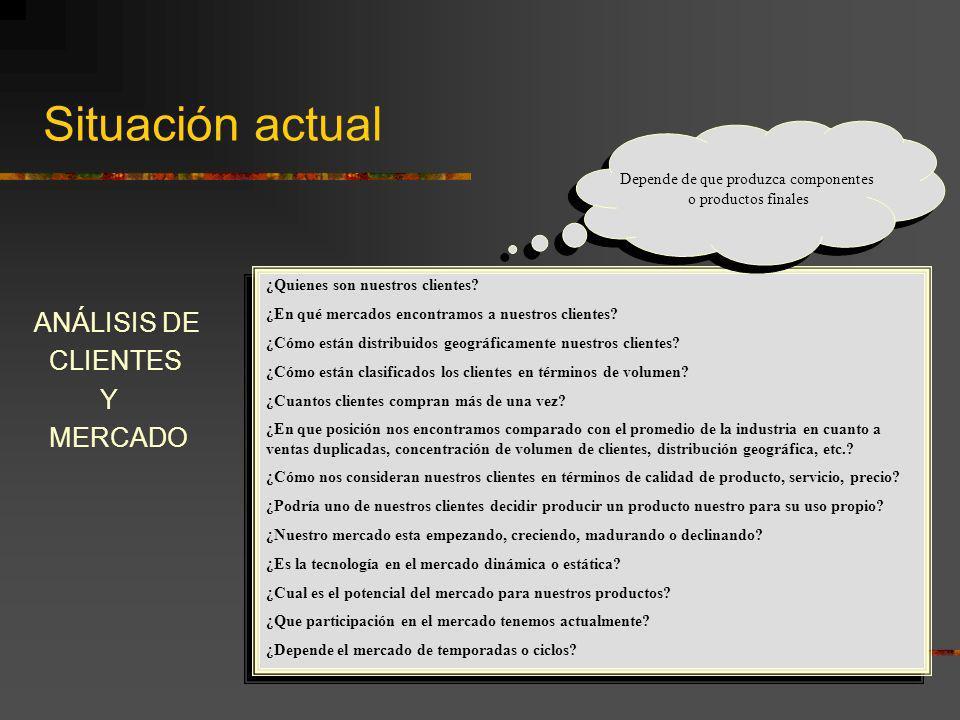 Situación actual ANÁLISIS DE CLIENTES Y MERCADO ¿Quienes son nuestros clientes? ¿En qué mercados encontramos a nuestros clientes? ¿Cómo están distribu