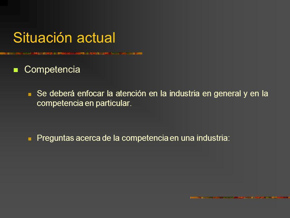 Situación actual Competencia Se deberá enfocar la atención en la industria en general y en la competencia en particular. Preguntas acerca de la compet