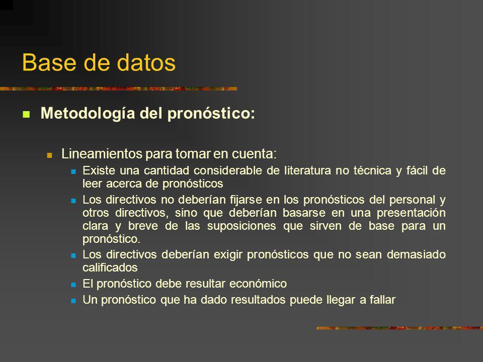 Base de datos Metodología del pronóstico: Lineamientos para tomar en cuenta: Existe una cantidad considerable de literatura no técnica y fácil de leer