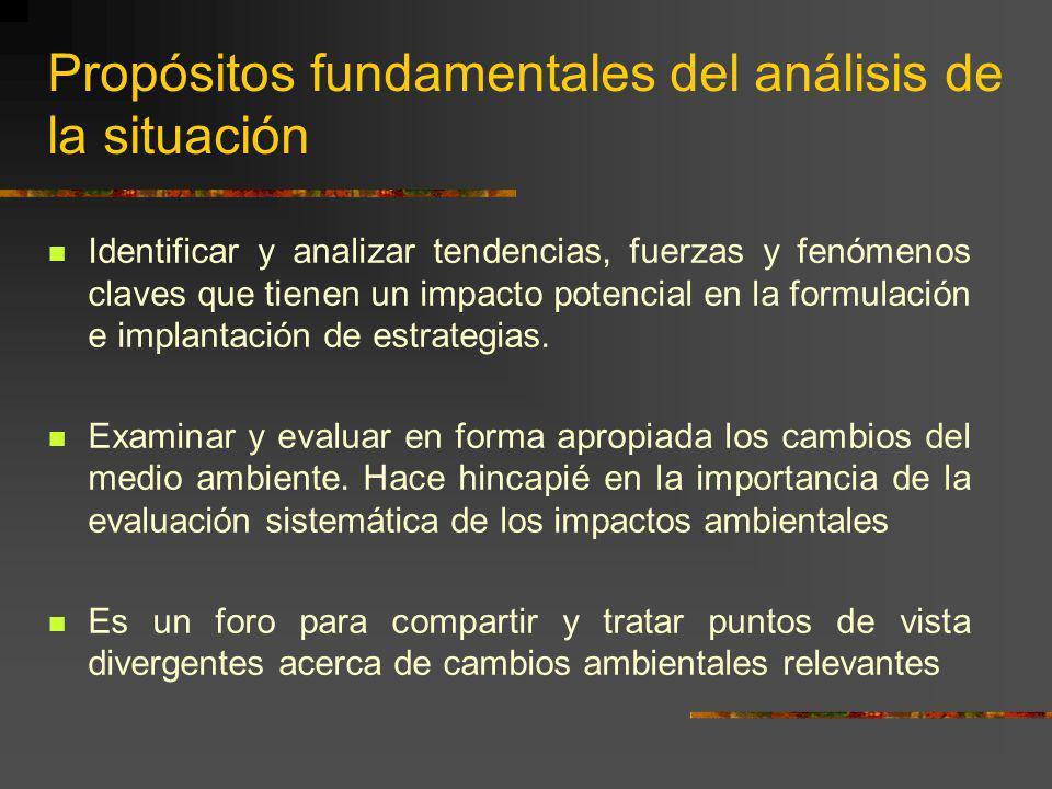 Propósitos fundamentales del análisis de la situación Identificar y analizar tendencias, fuerzas y fenómenos claves que tienen un impacto potencial en