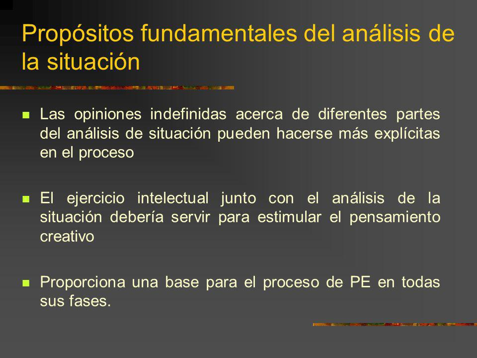 Propósitos fundamentales del análisis de la situación Las opiniones indefinidas acerca de diferentes partes del análisis de situación pueden hacerse m