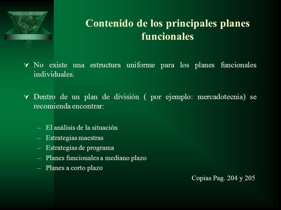 Contenido de los principales planes funcionales No existe una estructura uniforme para los planes funcionales individuales. Dentro de un plan de divis