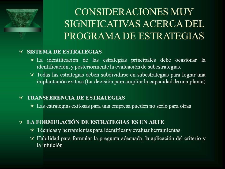 SISTEMA DE ESTRATEGIAS La identificación de las estrategias principales debe ocasionar la identificación, y posteriormente la evaluación de subestrate