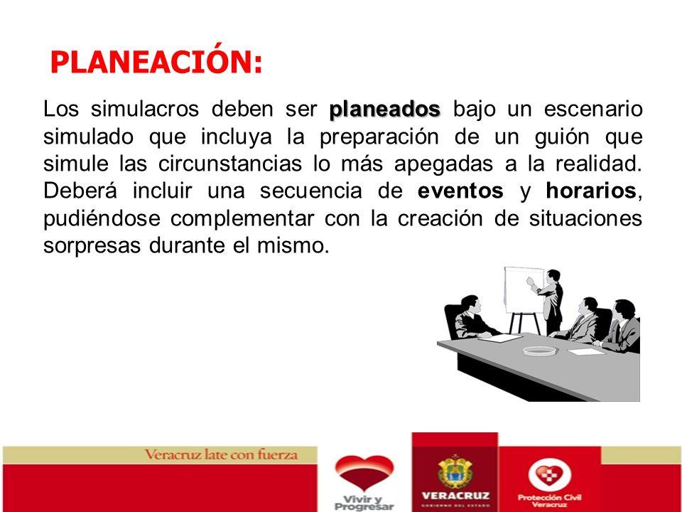 PLANEACIÓN: planeados Los simulacros deben ser planeados bajo un escenario simulado que incluya la preparación de un guión que simule las circunstanci