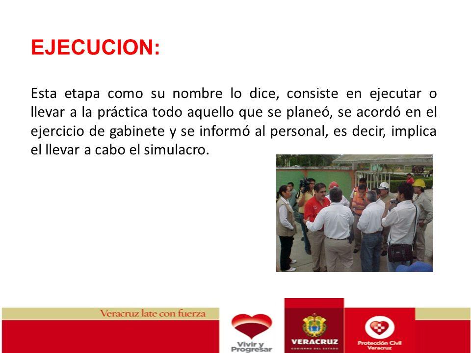 EJECUCION: Esta etapa como su nombre lo dice, consiste en ejecutar o llevar a la práctica todo aquello que se planeó, se acordó en el ejercicio de gab