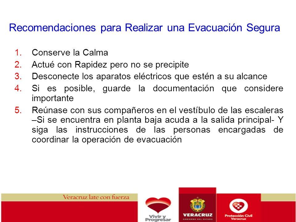 Recomendaciones para Realizar una Evacuación Segura 1.Conserve la Calma 2.Actué con Rapidez pero no se precipite 3.Desconecte los aparatos eléctricos