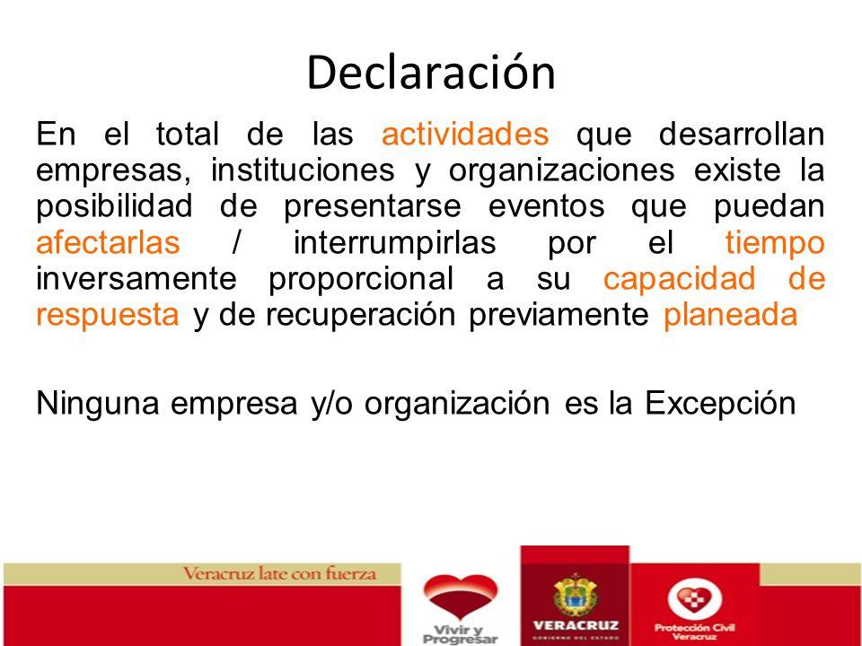 Declaración En el total de las actividades que desarrollan empresas, instituciones y organizaciones existe la posibilidad de presentarse eventos que p