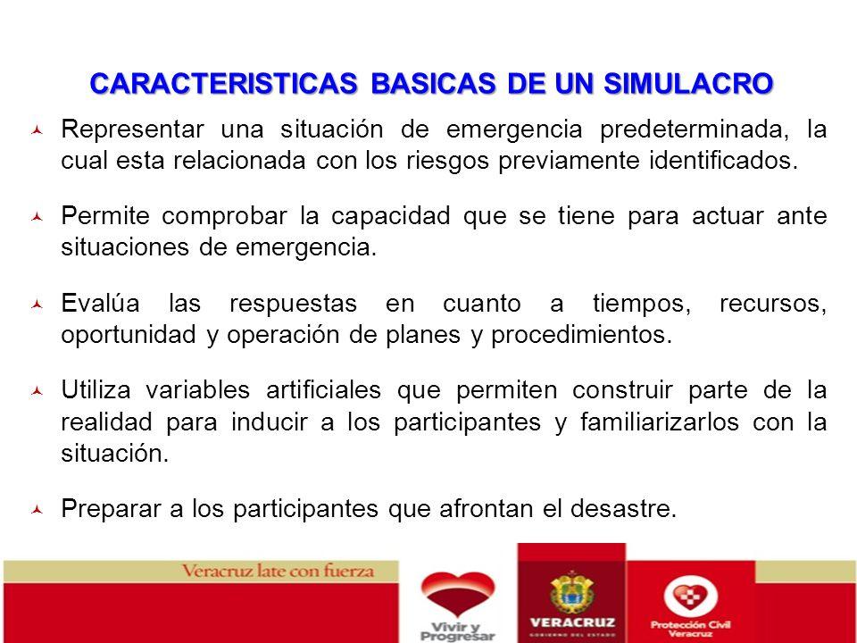 CARACTERISTICAS BASICAS DE UN SIMULACRO Representar una situación de emergencia predeterminada, la cual esta relacionada con los riesgos previamente i