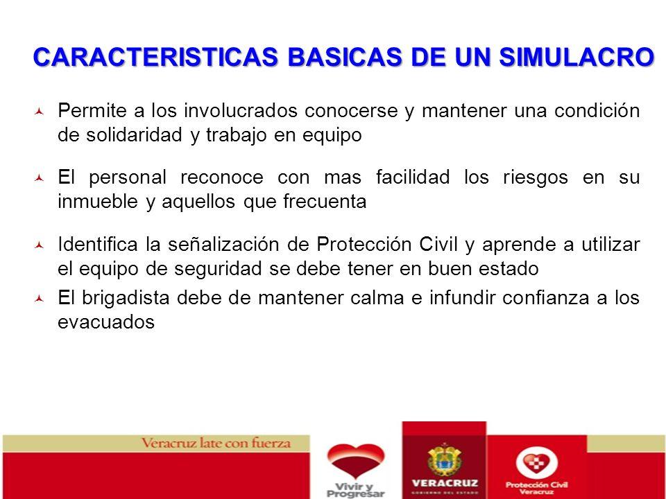 CARACTERISTICAS BASICAS DE UN SIMULACRO Permite a los involucrados conocerse y mantener una condición de solidaridad y trabajo en equipo El personal r