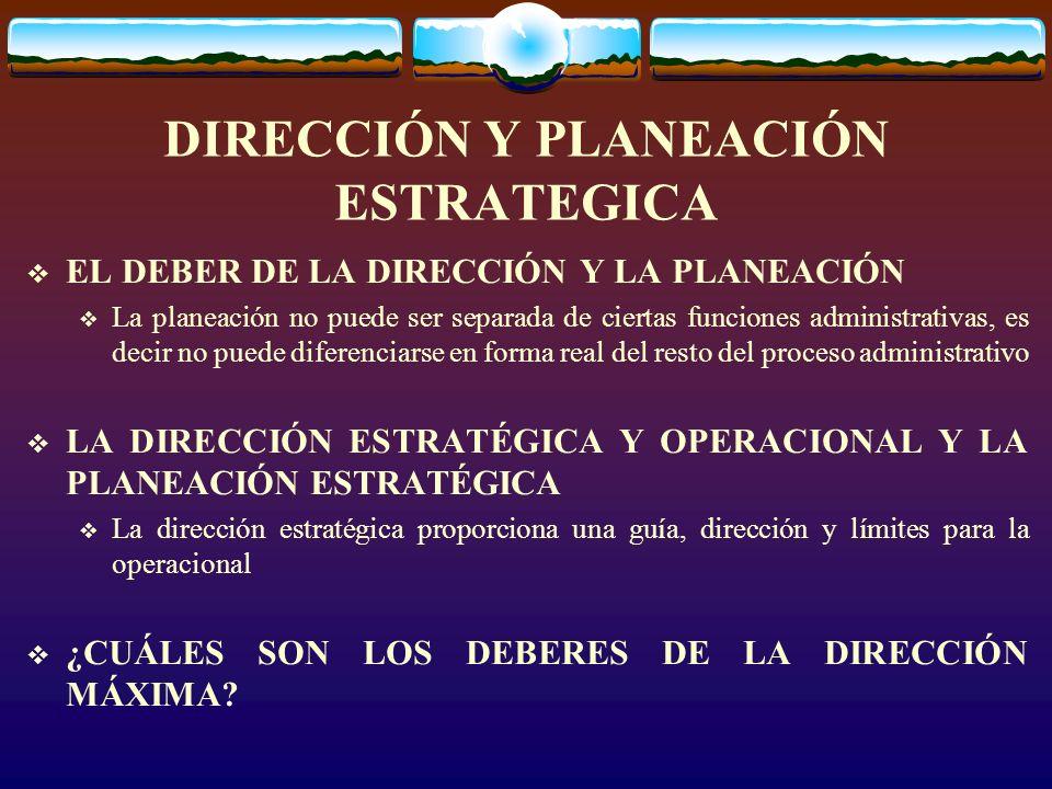 RESPONSABILIDADES DE PLANEACIÓN DE TODO DIRECTOR SEGÚN BOWER, 14 PROCESOS: ESTABLECIMENTO DE OBJETIVOS ESTRATEGIA DE PLANEACIÓN ESTABLECIMIENTO DE METAS DESARROLLAR LA FILOSOFÍA DE LA COMPAÑÍA ESTABLECER LAS POLÍTICAS PLANEAR LA ESTRUCTURA DE LA ORGANIZACIÓN PROPORCIONAR EL PERSONAL ESTABLECER LOS PROCEDIMIENTOS DIRECCIÓN Y PLANEACIÓN ESTRATEGICA