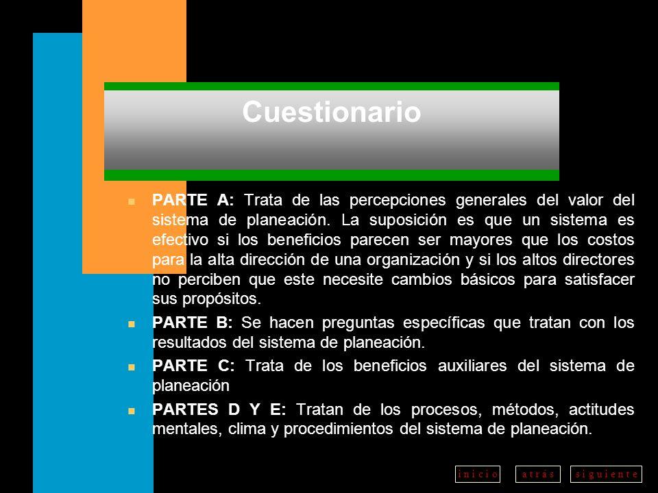 a t r á ss i g u i e n t ei n i c i o Cuestionario n PARTE A: Trata de las percepciones generales del valor del sistema de planeación.
