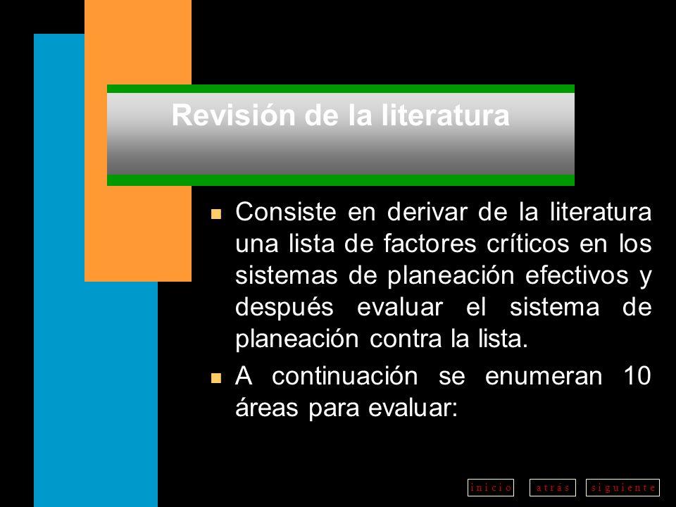 a t r á ss i g u i e n t ei n i c i o Revisión de la literatura n Consiste en derivar de la literatura una lista de factores críticos en los sistemas de planeación efectivos y después evaluar el sistema de planeación contra la lista.