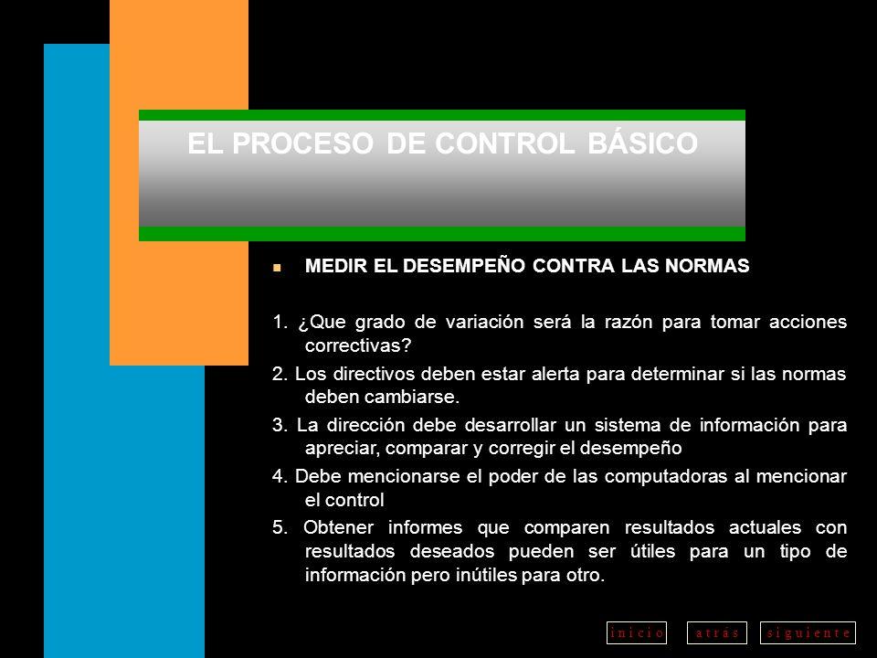 a t r á ss i g u i e n t ei n i c i o EL PROCESO DE CONTROL BÁSICO n MEDIR EL DESEMPEÑO CONTRA LAS NORMAS 1.