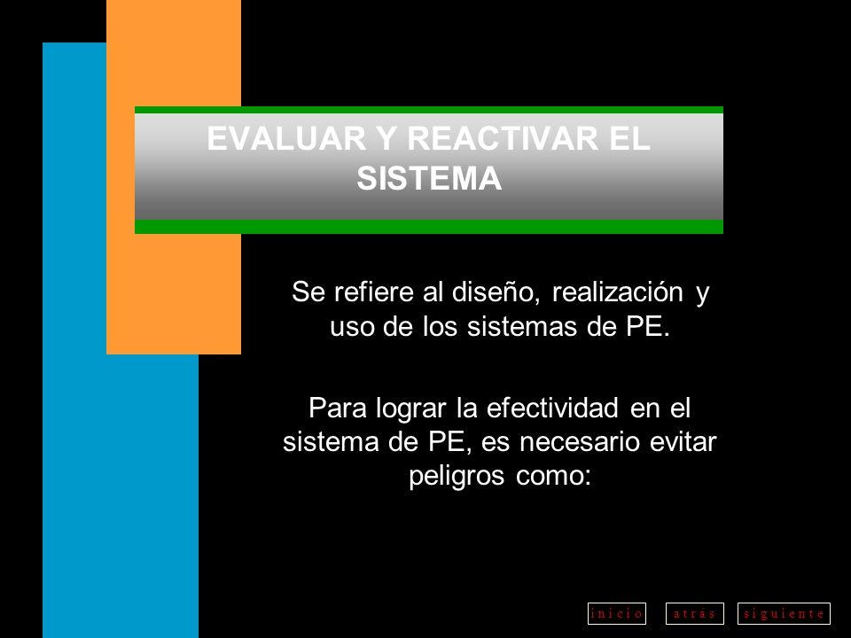 a t r á ss i g u i e n t ei n i c i o EVALUAR Y REACTIVAR EL SISTEMA Se refiere al diseño, realización y uso de los sistemas de PE.