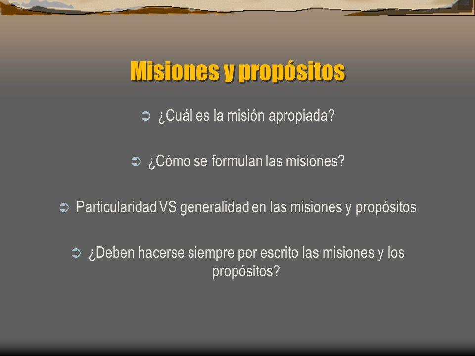 Misiones y propósitos ¿Cuál es la misión apropiada? ¿Cómo se formulan las misiones? Particularidad VS generalidad en las misiones y propósitos ¿Deben