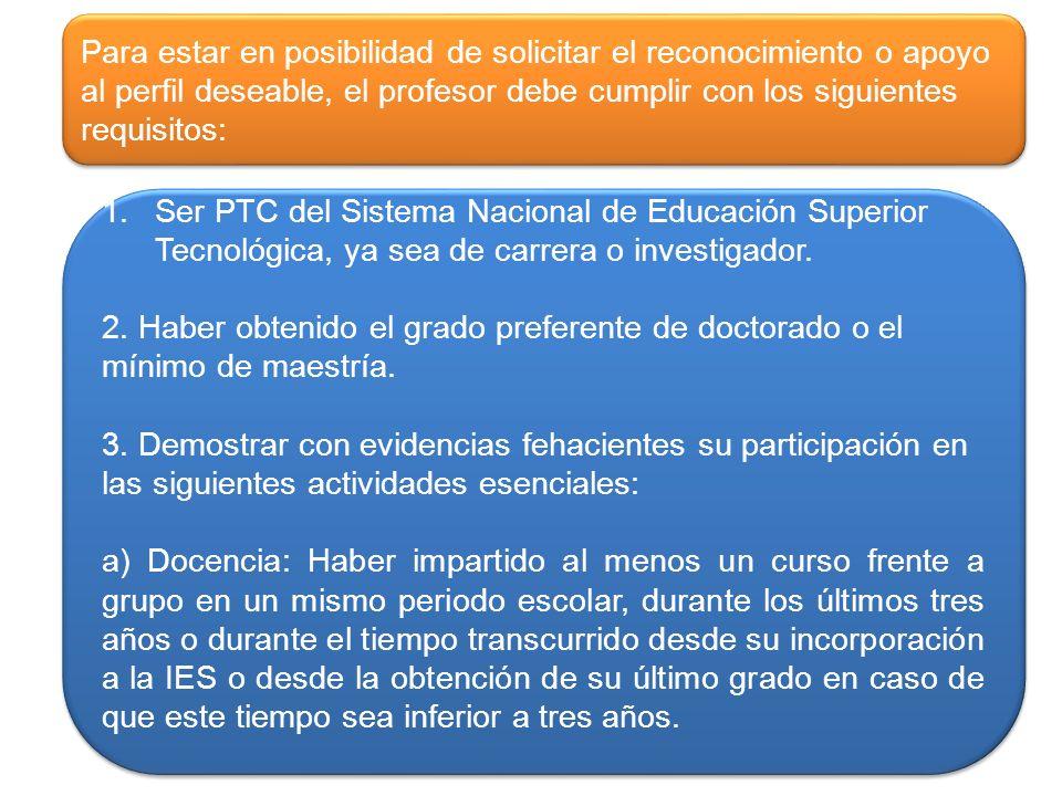 1.Ser PTC del Sistema Nacional de Educación Superior Tecnológica, ya sea de carrera o investigador.Ser PTC del Sistema Nacional de Educación Superior Tecnológica, ya sea de carrera o investigador.