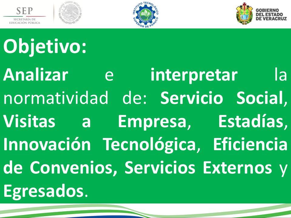 Objetivo: Analizar e interpretar la normatividad de: Servicio Social, Visitas a Empresa, Estadías, Innovación Tecnológica, Eficiencia de Convenios, Se