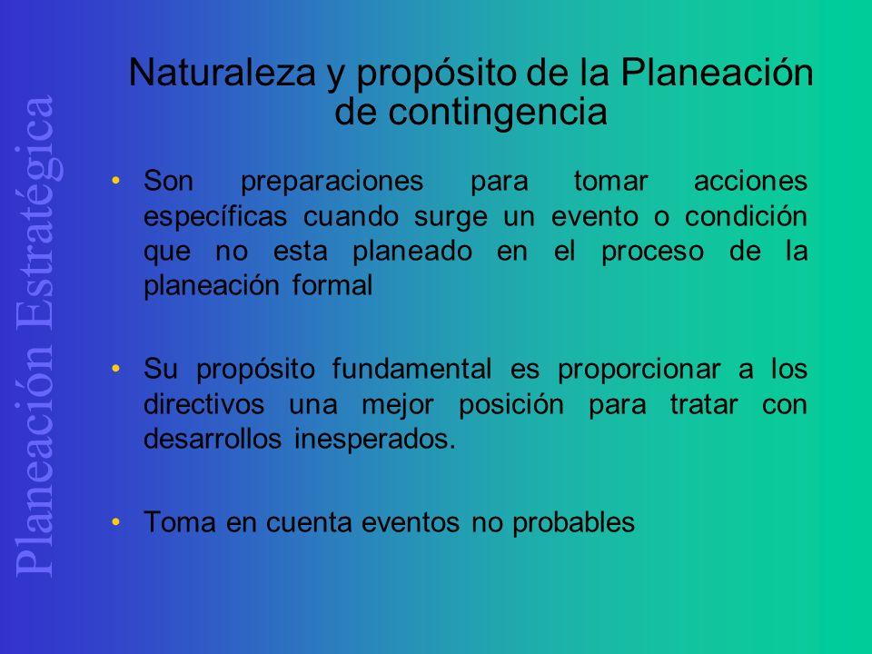 Planeación Estratégica Naturaleza y propósito de la Planeación de contingencia Son preparaciones para tomar acciones específicas cuando surge un event