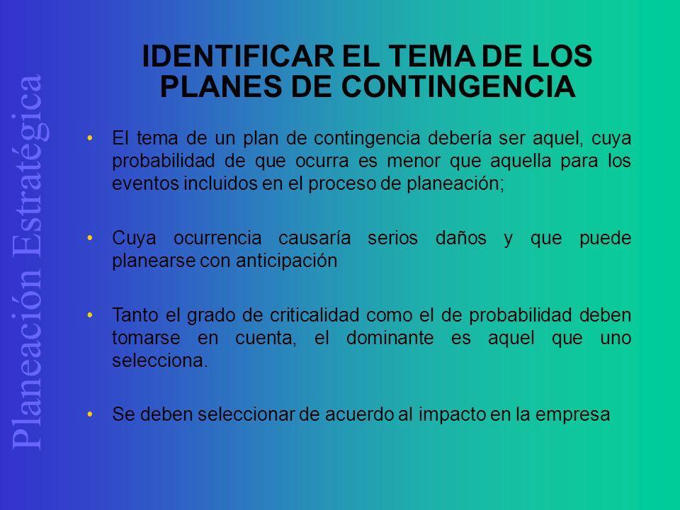 Planeación Estratégica El tema de un plan de contingencia debería ser aquel, cuya probabilidad de que ocurra es menor que aquella para los eventos inc