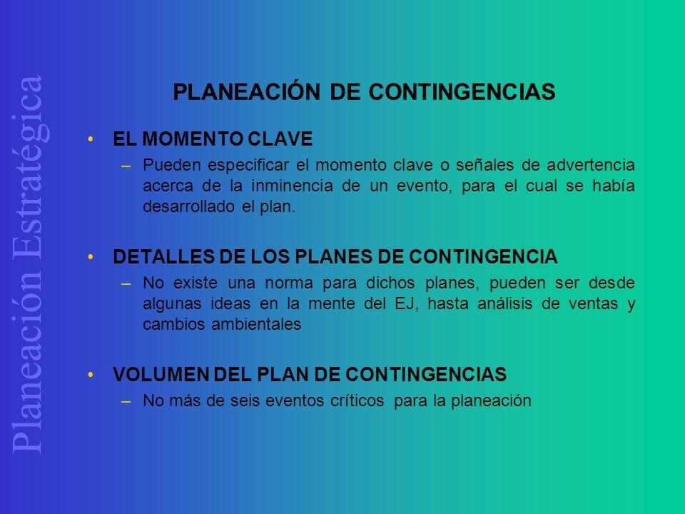 Planeación Estratégica PLANEACIÓN DE CONTINGENCIAS EL MOMENTO CLAVE –Pueden especificar el momento clave o señales de advertencia acerca de la inminen