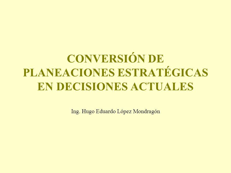 CONVERSIÓN DE PLANEACIONES ESTRATÉGICAS EN DECISIONES ACTUALES Ing. Hugo Eduardo López Mondragón