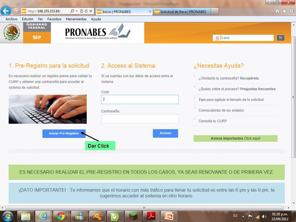 Ingresar Correo Electrónico valido y tu CURP Dar Click para validar CURP en RENAPO