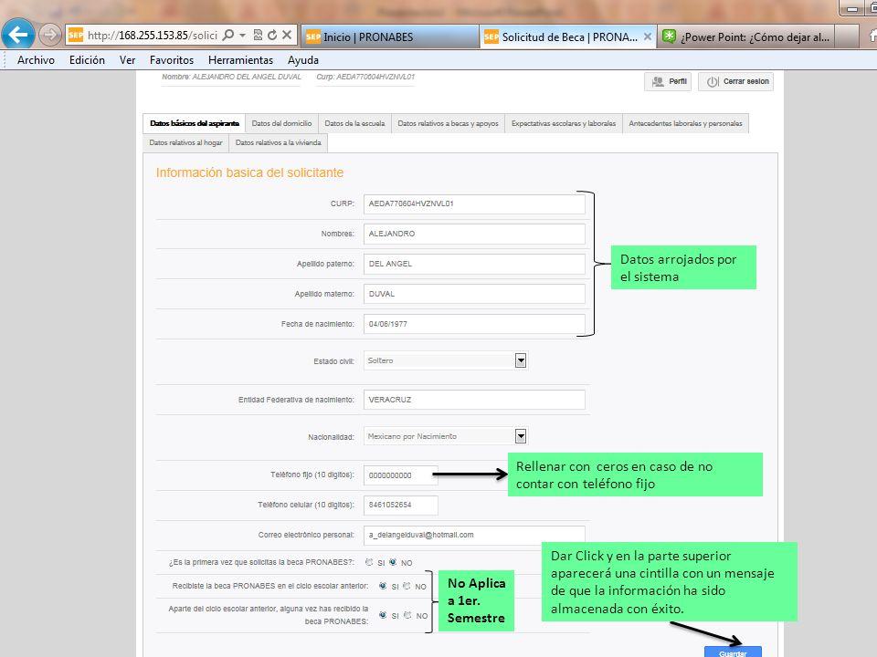 Datos arrojados por el sistema Dar Click y en la parte superior aparecerá una cintilla con un mensaje de que la información ha sido almacenada con éxito.