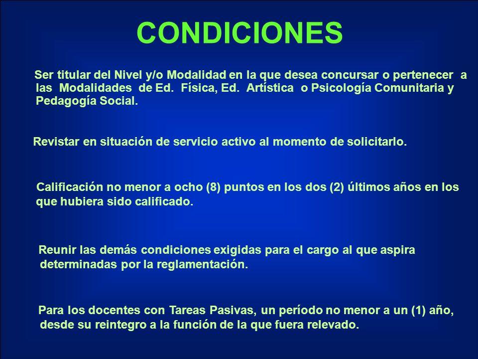 CONDICIONES Ser titular del Nivel y/o Modalidad en la que desea concursar o pertenecer a las Modalidades de Ed.