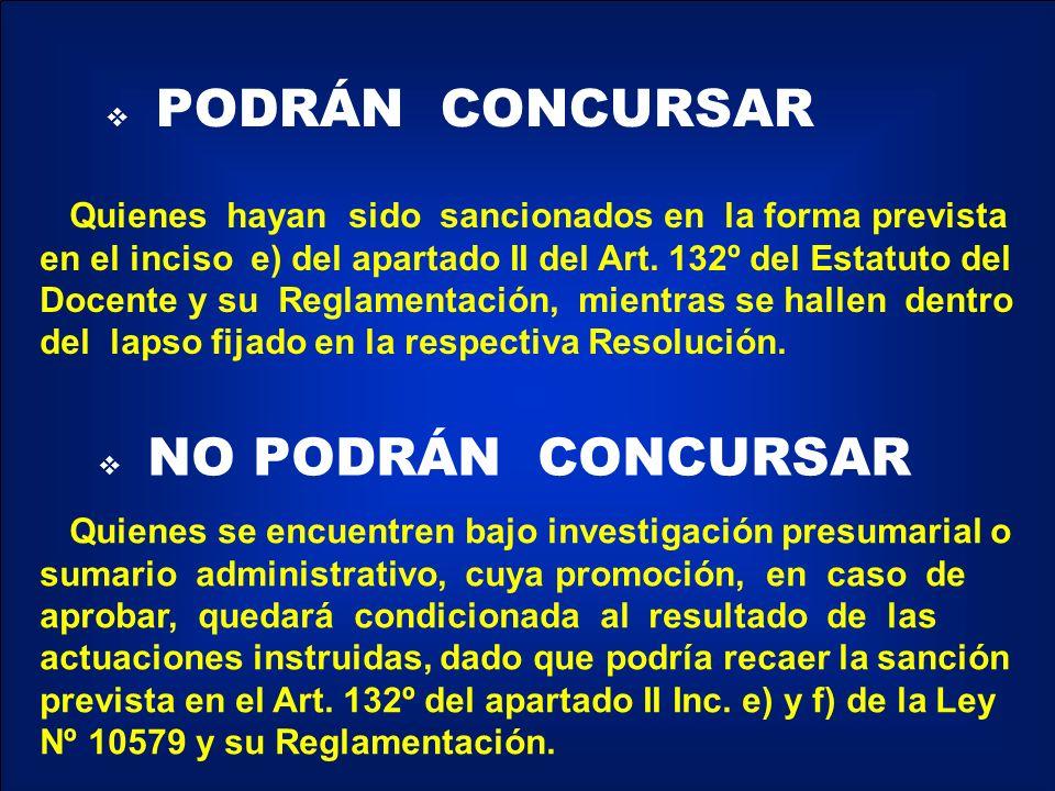 PODRÁN CONCURSAR NO PODRÁN CONCURSAR Quienes hayan sido sancionados en la forma prevista en el inciso e) del apartado II del Art.