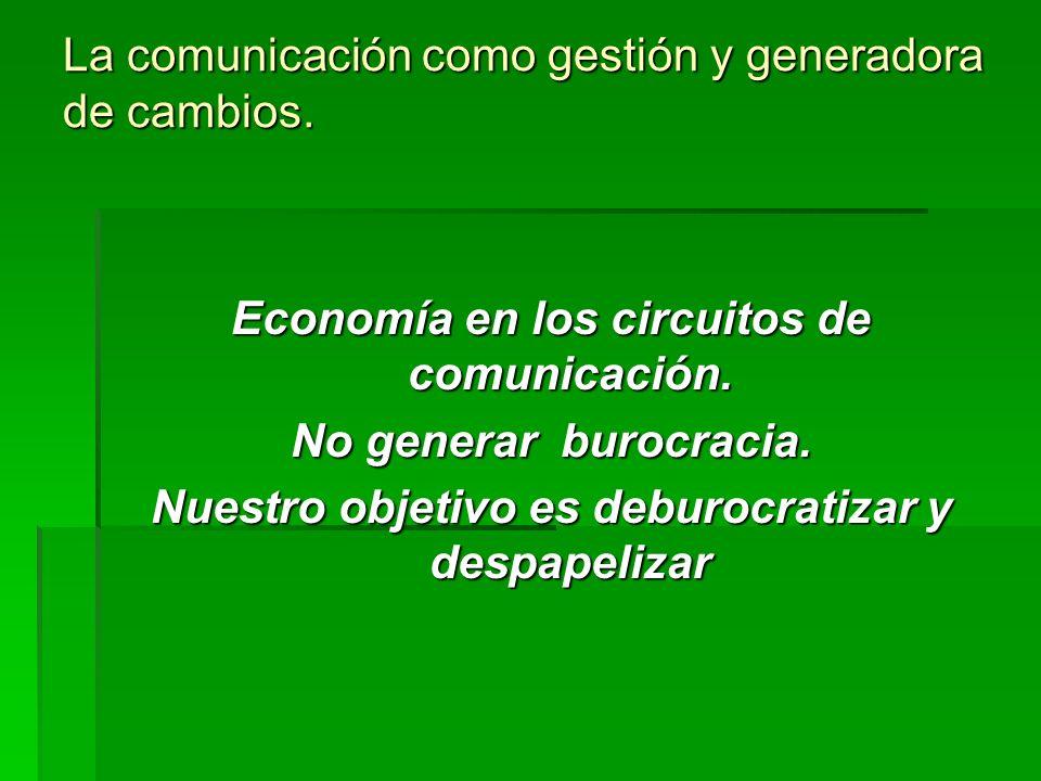 La comunicación como gestión y generadora de cambios. Economía en los circuitos de comunicación. No generar burocracia. Nuestro objetivo es deburocrat