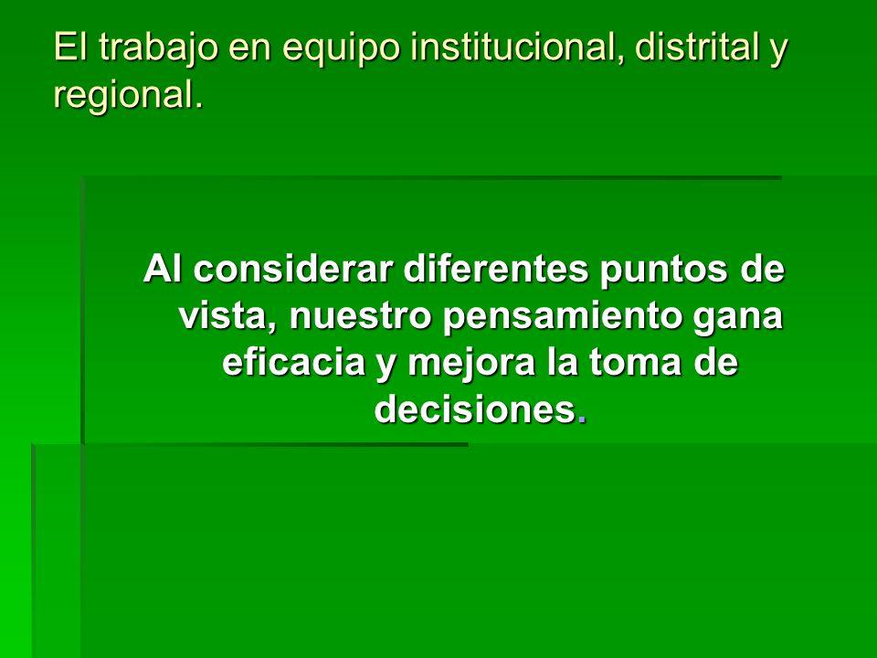 El trabajo en equipo institucional, distrital y regional. Al considerar diferentes puntos de vista, nuestro pensamiento gana eficacia y mejora la toma