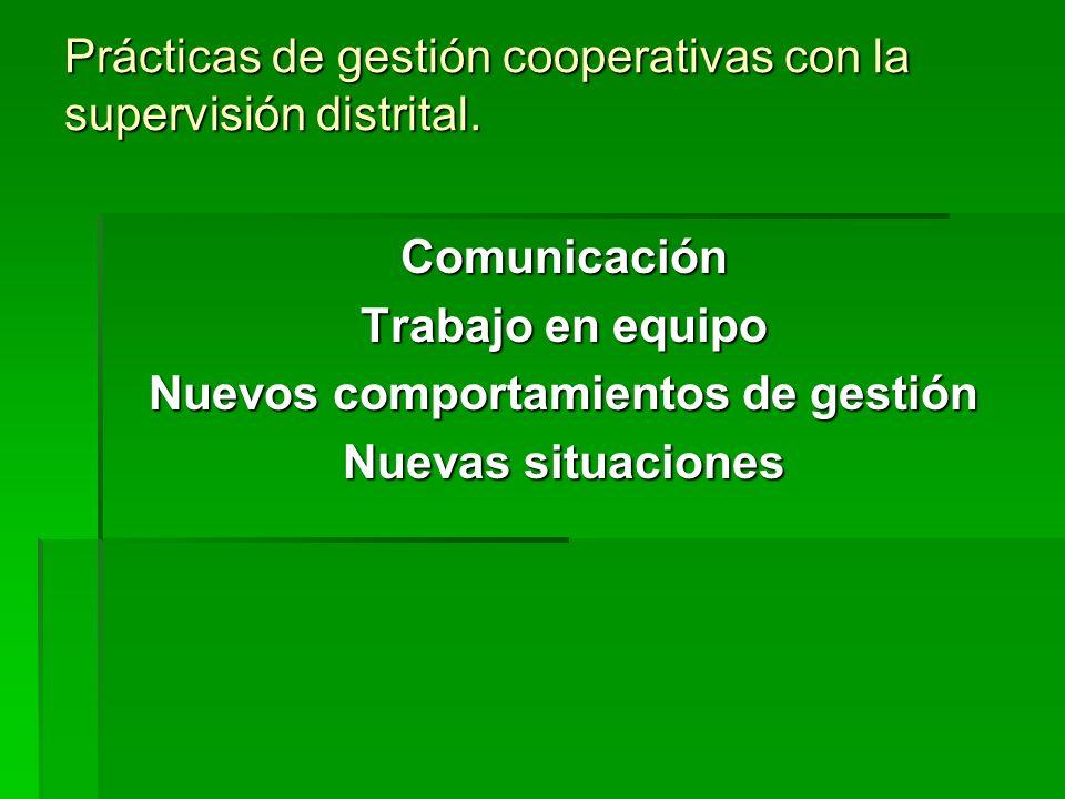 Prácticas de gestión cooperativas con la supervisión distrital. Comunicación Trabajo en equipo Nuevos comportamientos de gestión Nuevas situaciones