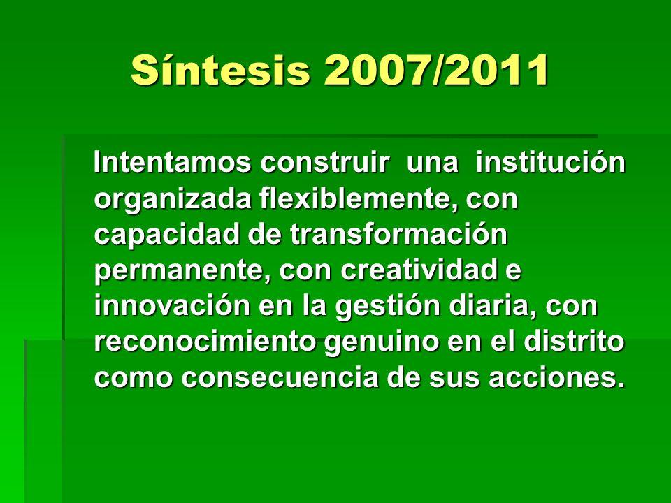 Síntesis 2007/2011 Intentamos construir una institución organizada flexiblemente, con capacidad de transformación permanente, con creatividad e innova