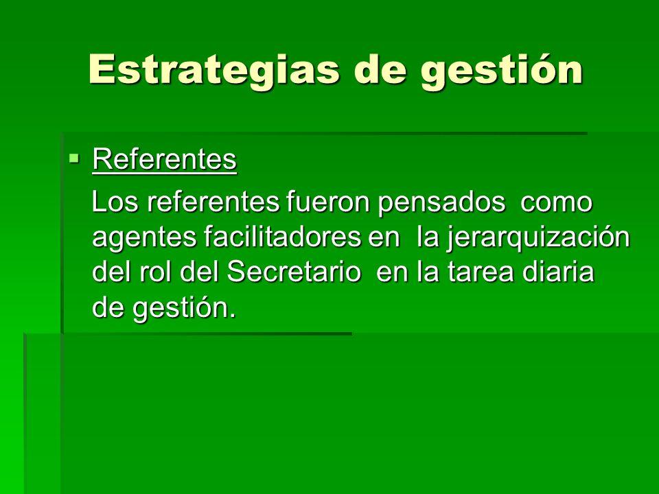 Estrategias de gestión Referentes Referentes Los referentes fueron pensados como agentes facilitadores en la jerarquización del rol del Secretario en