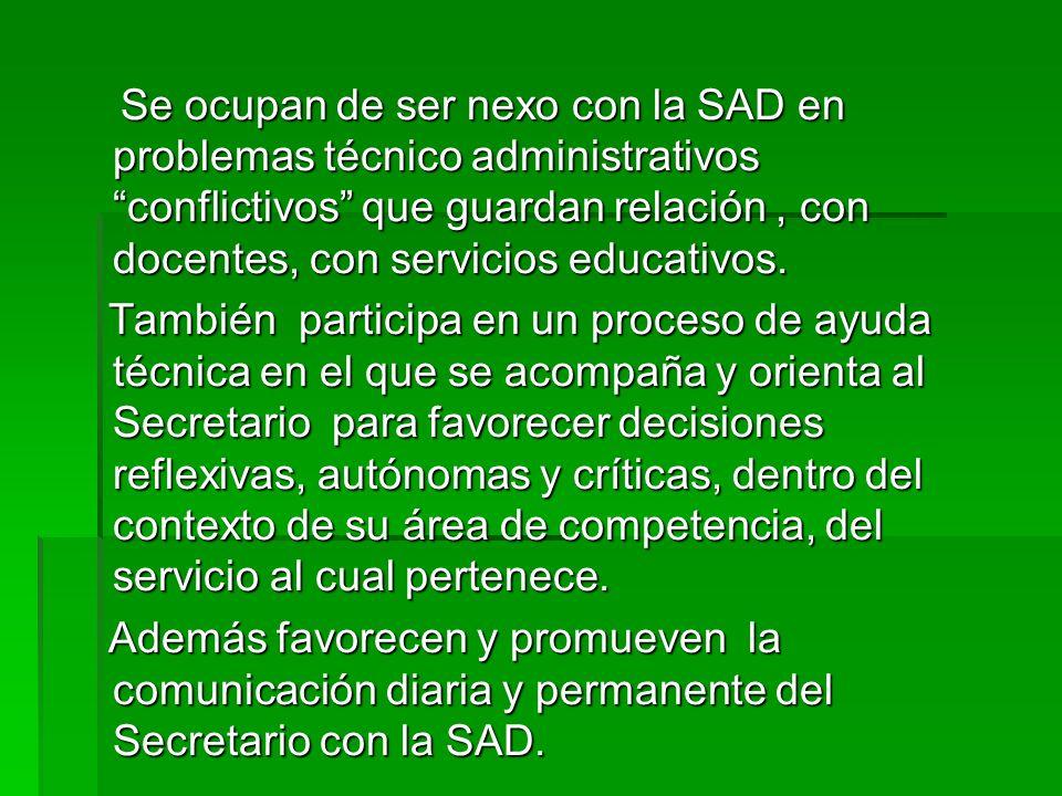 Se ocupan de ser nexo con la SAD en problemas técnico administrativos conflictivos que guardan relación, con docentes, con servicios educativos. Se oc