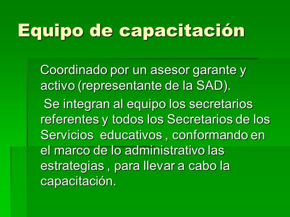 Equipo de capacitación Coordinado por un asesor garante y activo (representante de la SAD). Coordinado por un asesor garante y activo (representante d
