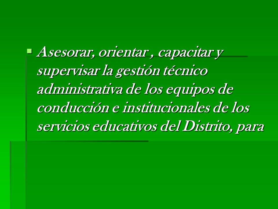 Asesorar, orientar, capacitar y supervisar la gestión técnico administrativa de los equipos de conducción e institucionales de los servicios educativo