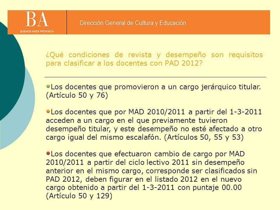Los docentes que promovieron a un cargo jerárquico titular. (Artículo 50 y 76) Los docentes que por MAD 2010/2011 a partir del 1-3-2011 acceden a un c