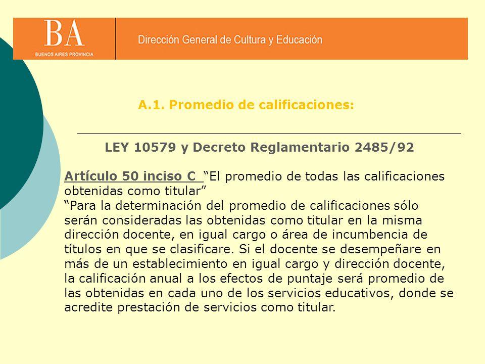LEY 10579 y Decreto Reglamentario 2485/92 Artículo 50 inciso C El promedio de todas las calificaciones obtenidas como titular Para la determinación de