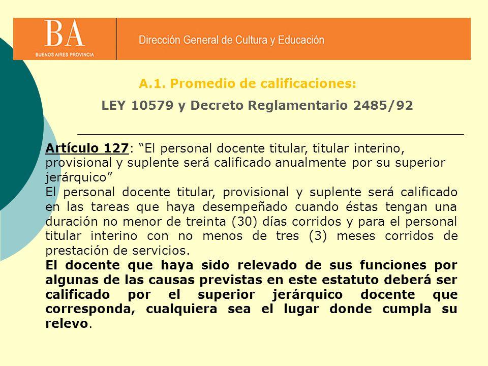 Artículo 127: El personal docente titular, titular interino, provisional y suplente será calificado anualmente por su superior jerárquico El personal