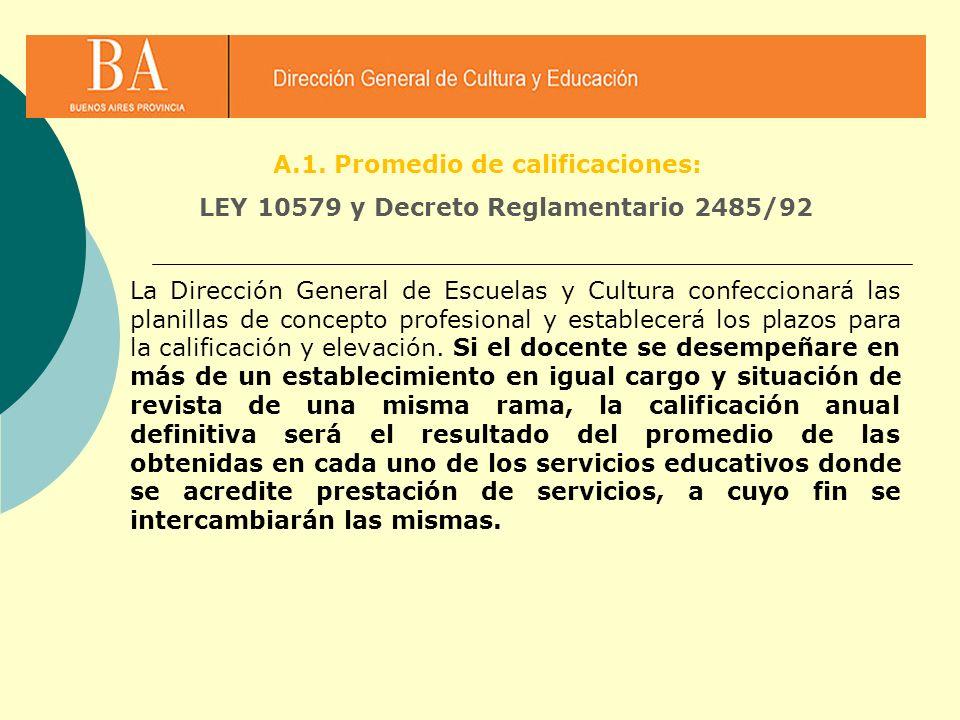 A.1. Promedio de calificaciones: LEY 10579 y Decreto Reglamentario 2485/92 La Dirección General de Escuelas y Cultura confeccionará las planillas de c