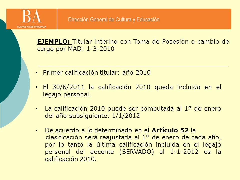 Primer calificación titular: año 2010 El 30/6/2011 la calificación 2010 queda incluida en el legajo personal. La calificación 2010 puede ser computada