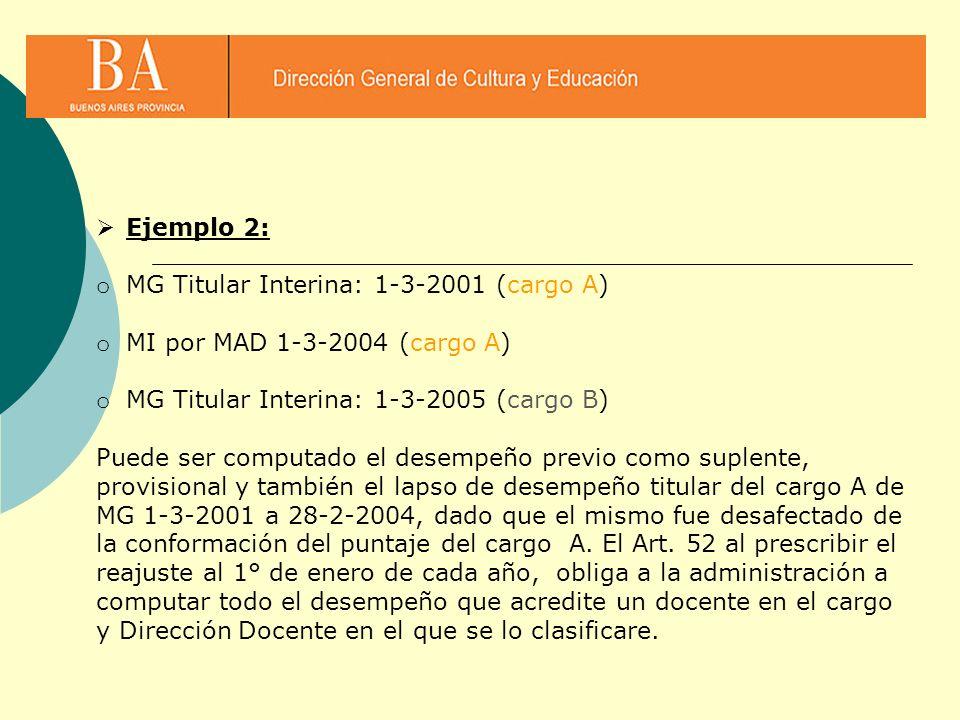 Ejemplo 2: o MG Titular Interina: 1-3-2001 (cargo A) o MI por MAD 1-3-2004 (cargo A) o MG Titular Interina: 1-3-2005 (cargo B) Puede ser computado el