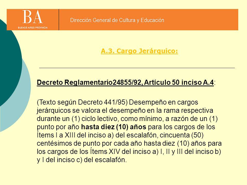 A.3. Cargo Jerárquico: Decreto Reglamentario24855/92, Artículo 50 inciso A.4: (Texto según Decreto 441/95) Desempeño en cargos jerárquicos se valora e