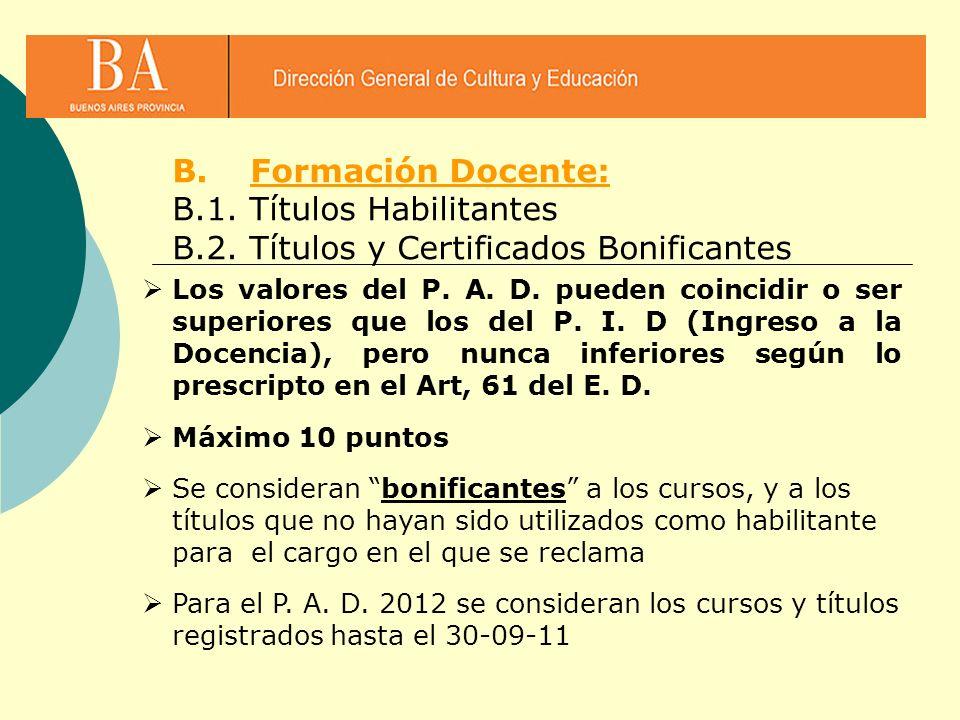 B.Formación Docente: B.1. Títulos Habilitantes B.2. Títulos y Certificados Bonificantes Los valores del P. A. D. pueden coincidir o ser superiores que